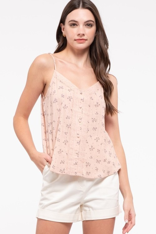 Sleeveless Print Lace Detail Top Beige