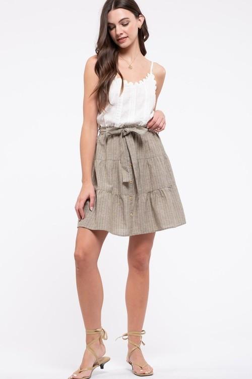 Twofer Sleeveless Dress Belted Dusty Olive
