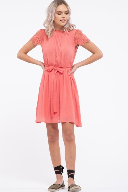 Scallop Lace Sleeveless Dress Coral