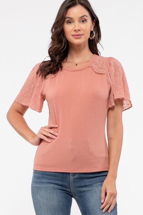 Round Neck Angel Short Sleeve Top Dusty Pink