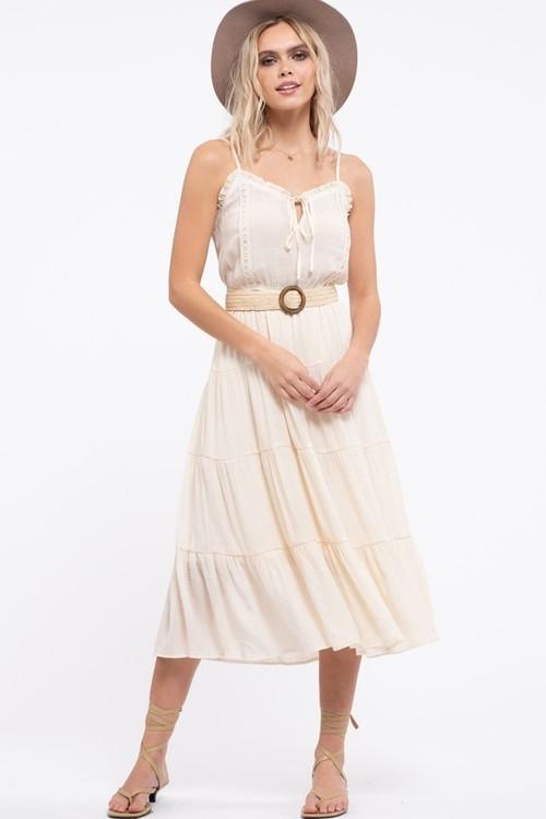 Ruffle Trim Elastic Waist Dress Stone