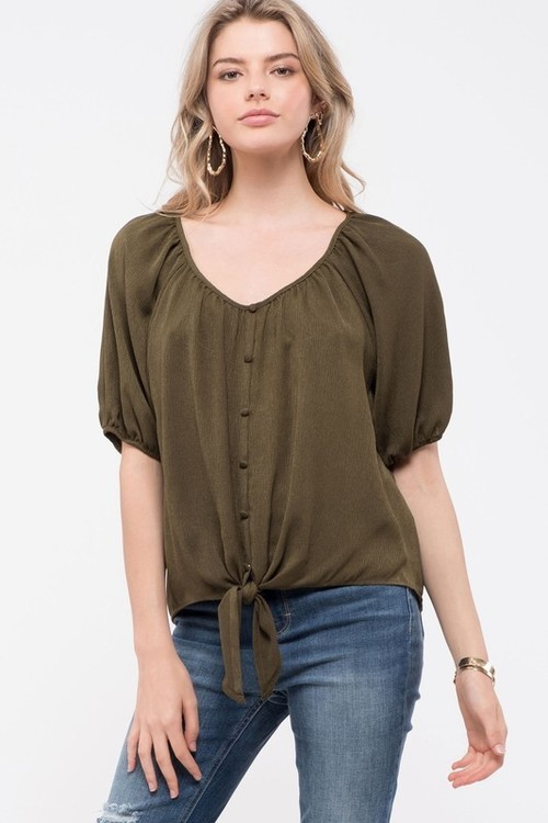 Button Down Tie Front Top Olive