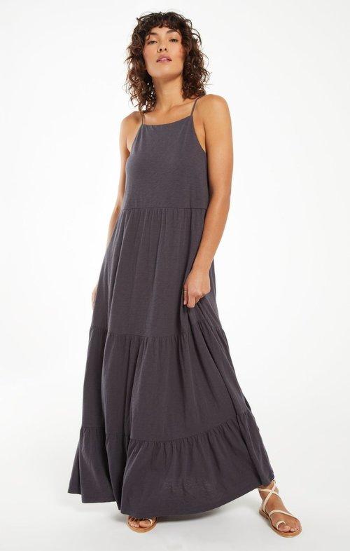 Rory Tiered Slub Dress Washed Black