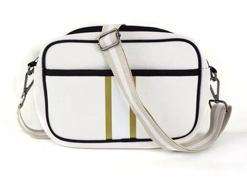 Ivory Gold Stripe Crossbody Bag