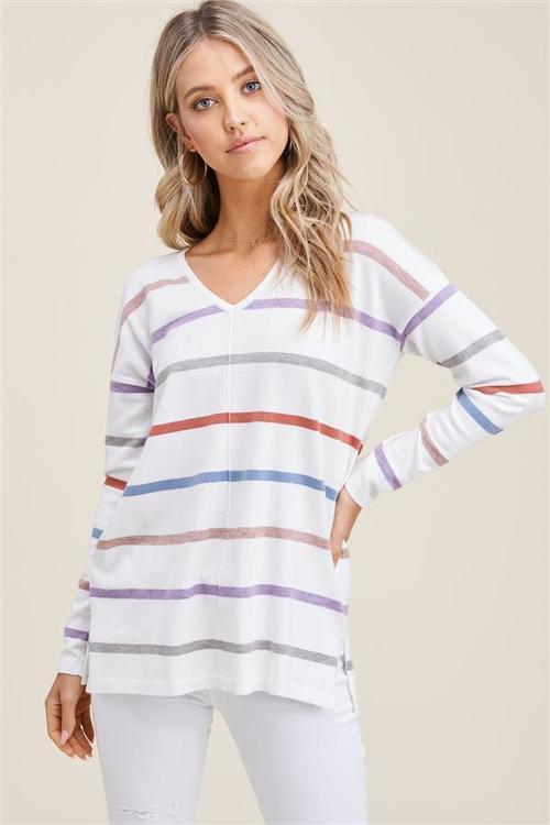 V Neck Multi Color Stripe Sweater Mocha/Rust