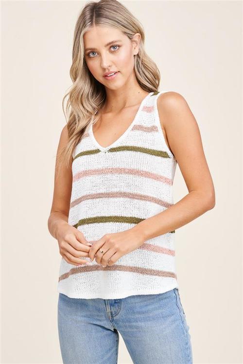Sleeveless Multi Color Stripe Sweater Olive/Taupe