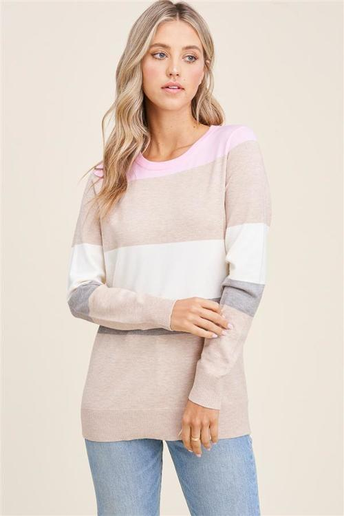 Crew Neck Color Block Sweater Pink/Taupe