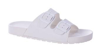 Buckle Slip On Sandal White