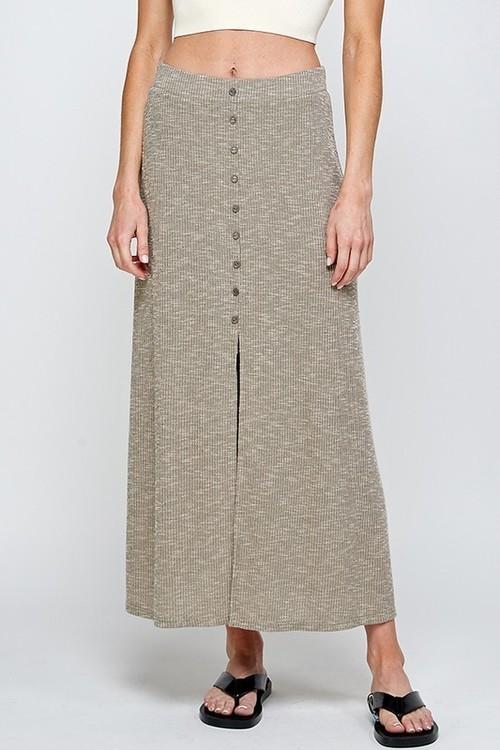 Rib Button Down Midi Skirt Olive