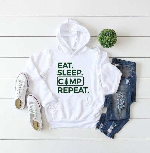 Eat. Sleep. Camp. Repeat. Hoodie White