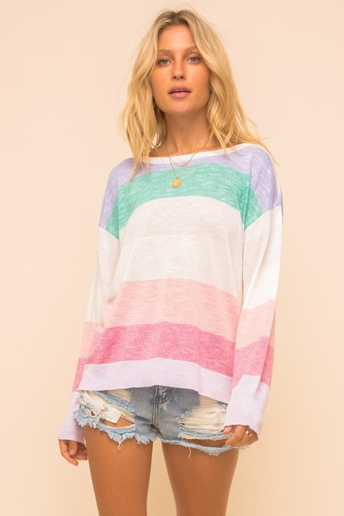 Multi Stripe Lightweight Sweater Green/Blush