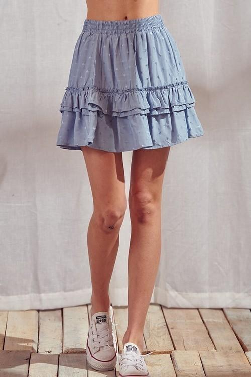 Ruffle Skirt W/ Star Embroidery Blue