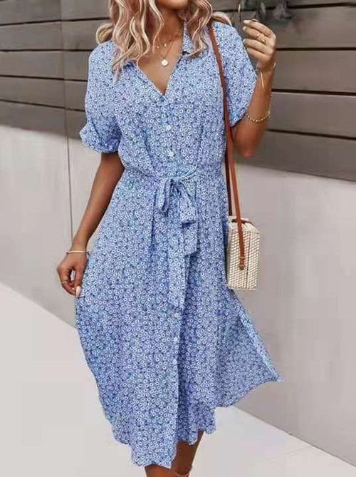 Floral Print Button Front Dress Light Blue