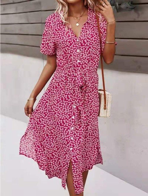 Floral Print Button Front Dress Red