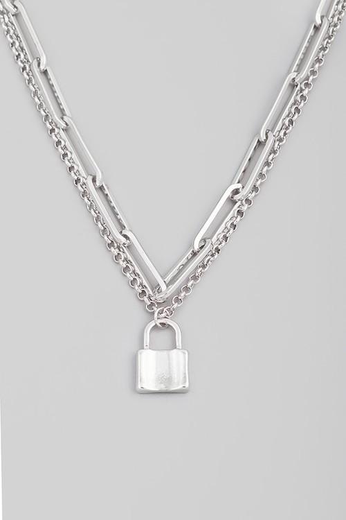 Samantha Lock Necklace Silver