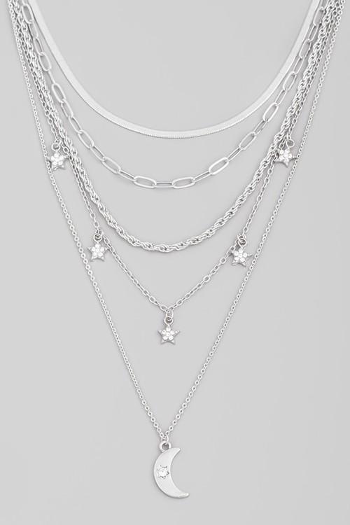 Jenny Moon Three Layer Necklace Silver