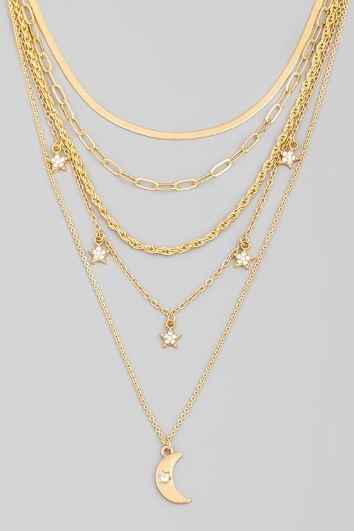 Jenny Moon Three Layer Necklace Gold