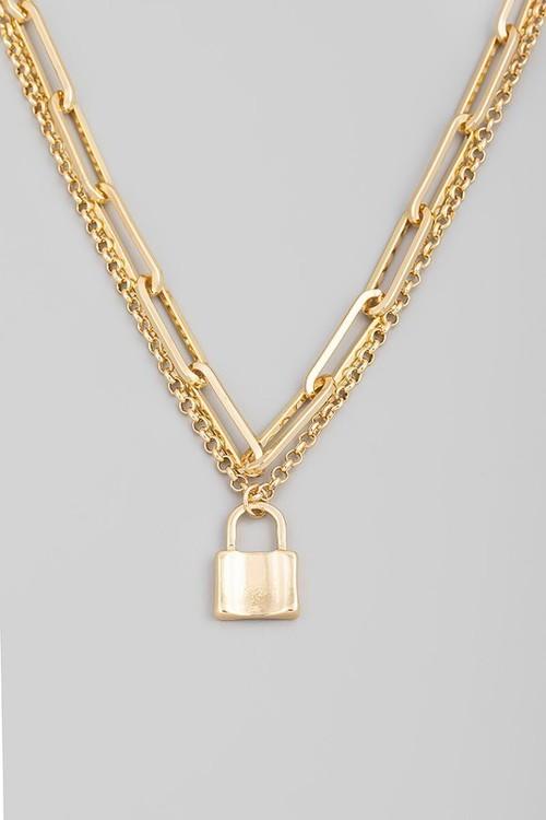 Samantha Lock Necklace Gold