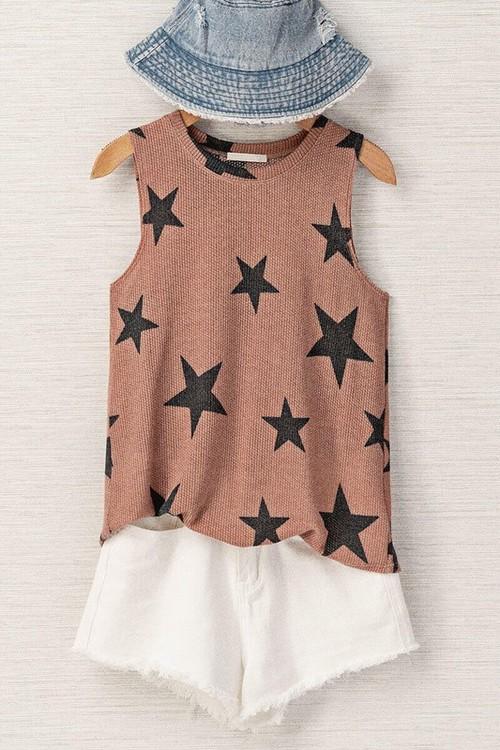 Star Print Sleeveless Top Mauve