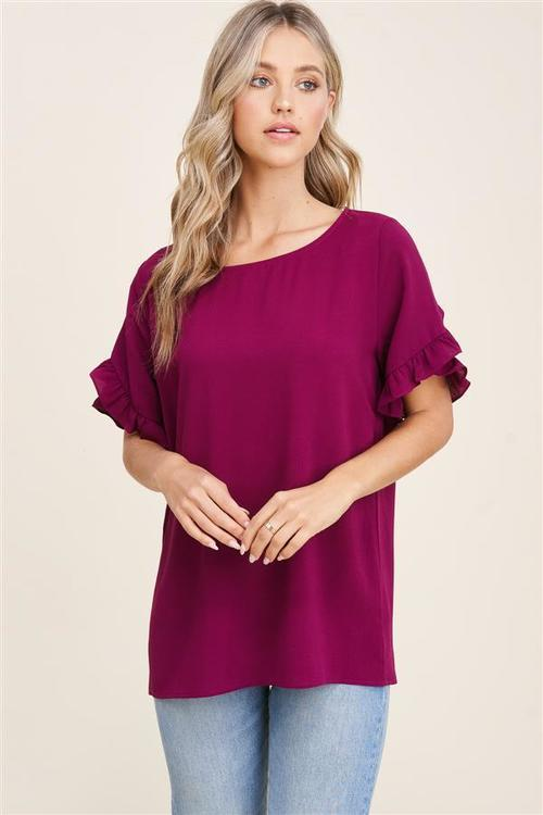 Round Neck Ruffle Detailed Top Berry