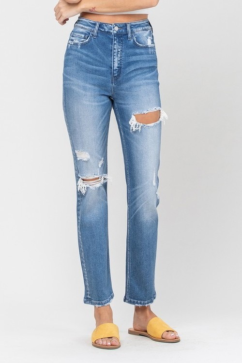 Super High Rise Distressed Straight Wavy