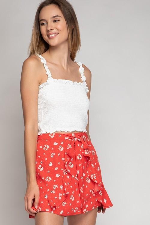 Print Wrap Skirt Red