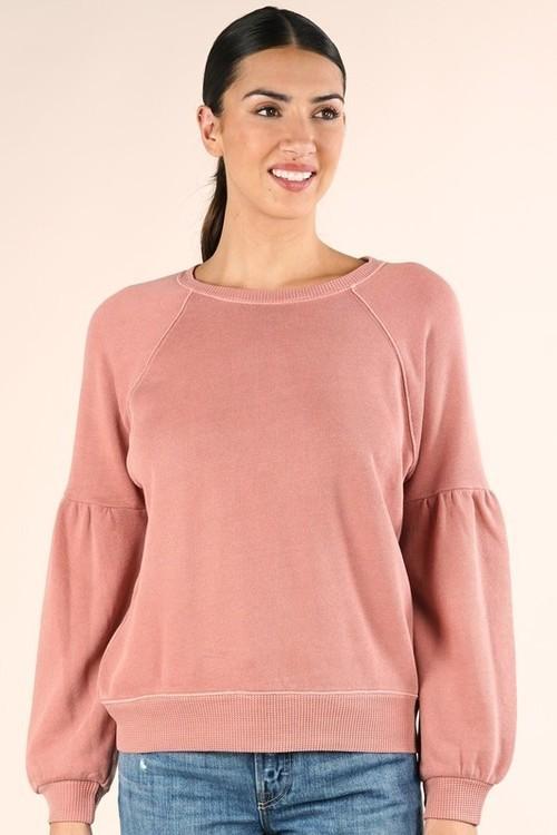 Dyed Sweatshirt W/ Raglan Sleeve Dusty Pink