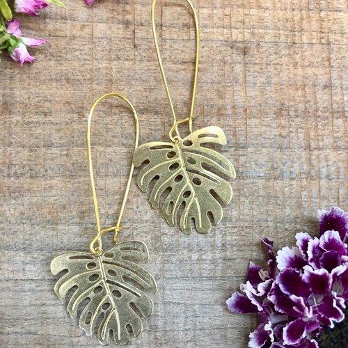 Reece Palm Leaf Brass Earrings