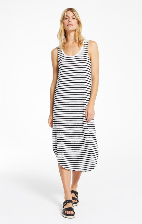 Reverie Stripe Scoop Neck Dress Black/Desert White