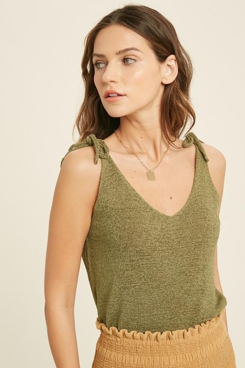Wishlist Shoulder Tie Sweater Sleeveless Top Olive
