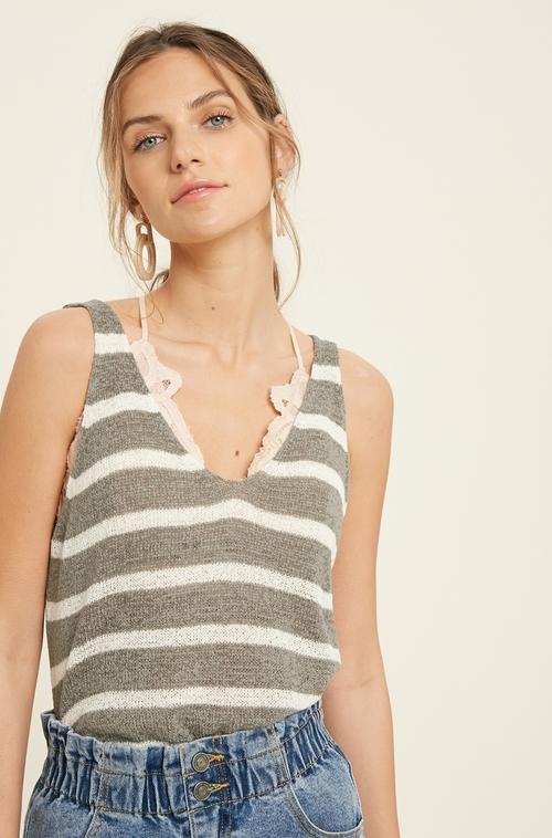 Wishlist Sleeveless Sweater Stripe Tank Top Mint/Ivory