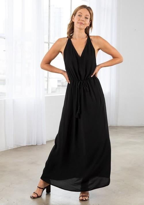 Sleeveless Maxi Dress W/ Tie Waist Black