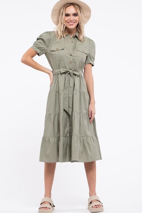 Safari Midi Dress Olive