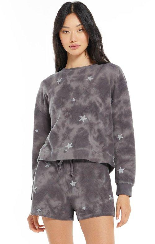 Millie Cloud Star Sweatshirt Washed Black
