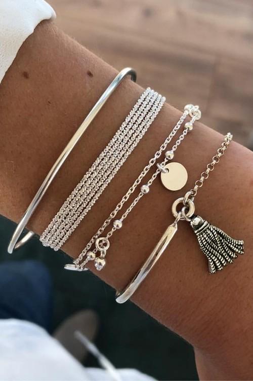 Stacy Silver Assorted Bracelets