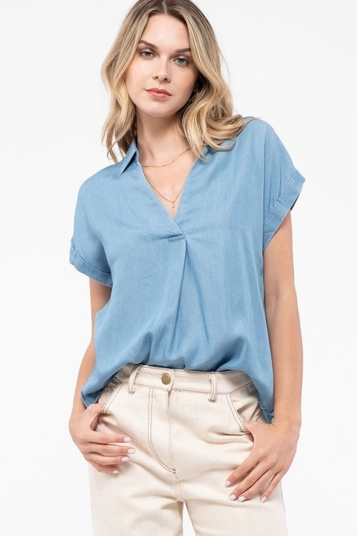 Collared Top Chambray