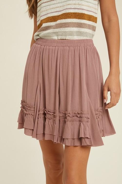 Wishlist Ruffle Mini Skirt Mauve