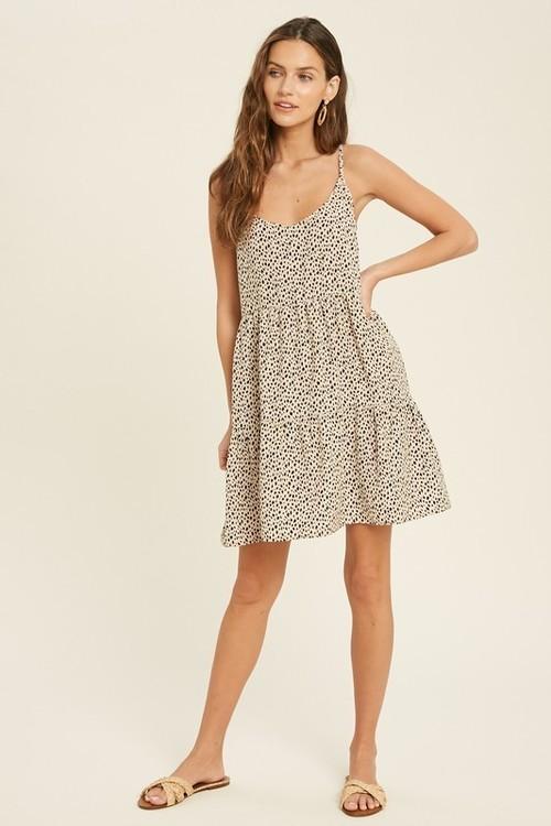 Wishlist Printed Sleeveless Mini Dress Cream