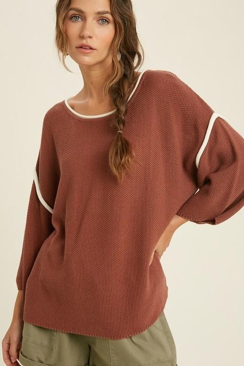 Wishlist Piping Detail Sweater Burl Wood