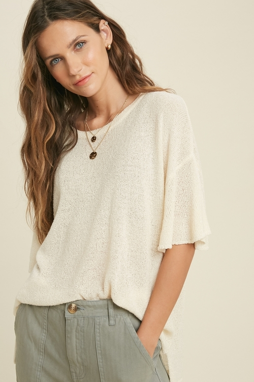 Wishlist Round Neck Sweater Top Ivory
