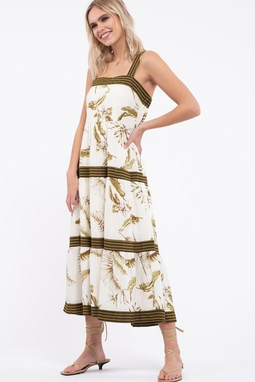 Floral Pin Stripe Detail Dress Green Multi