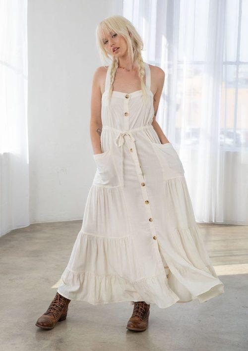 Button Down Tiered Dress Vanilla
