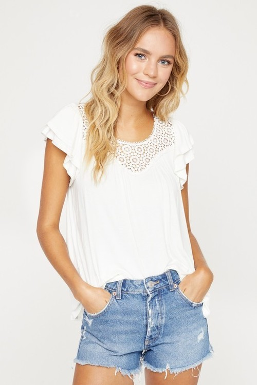 Double Layer Ruffle Sleeve Top White