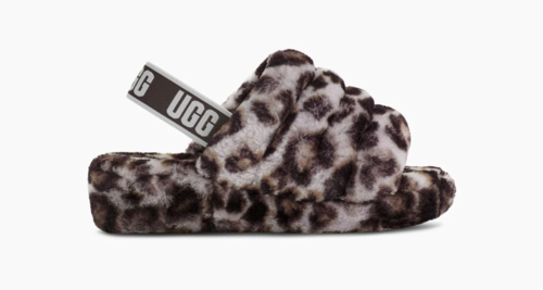 UGG Fluff Yeah Slide Stormy Grey Panther Print