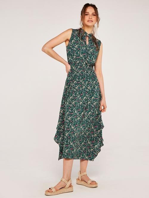 Floral Ruffle Smock Dress Green