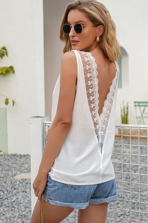 Sleeveless V Neck Lace Back Top White
