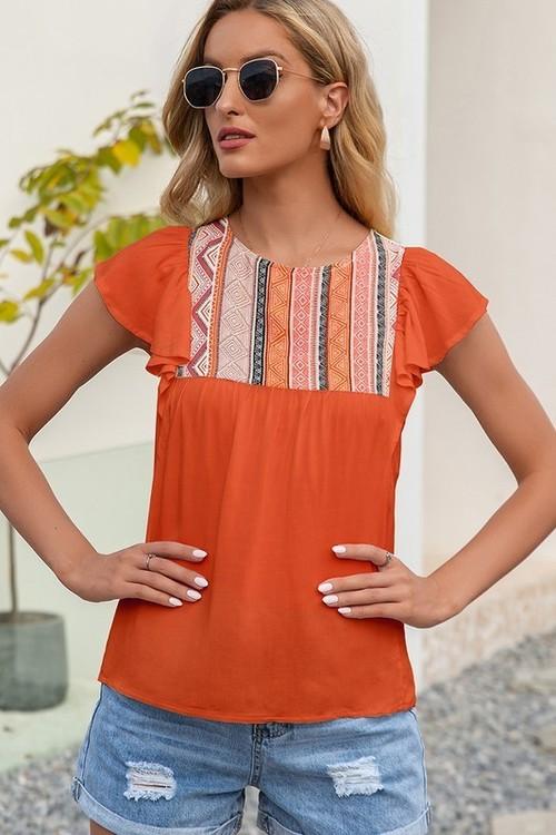 Short Sleeve Printed Neck Top Orange