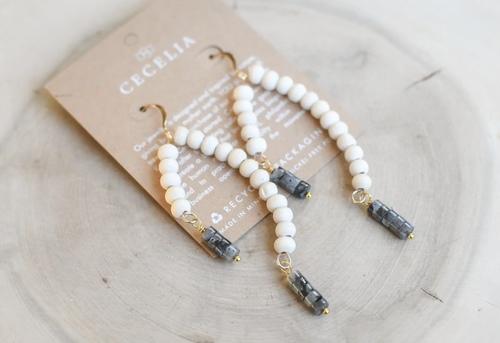 Cecelia Labradorite Gemstone and Wood Earrings