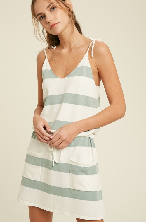 Stripe Sweater Dress Dark Sage