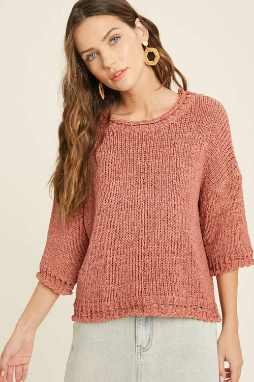 Round Neck Sweater Top Ginger